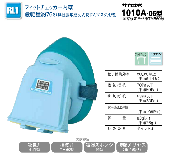 防じんマスク1010A-6型